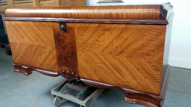 Repair loose veneer on cedar chest