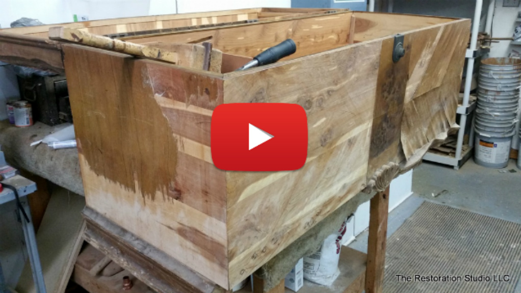 how to remove veneer from cedar chest